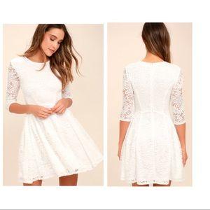 Lulus White Lace Skater Dress